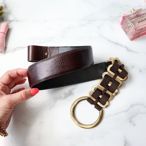 CARLISLE brown brass leather belt fold over loop